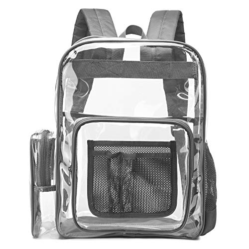 Clear Backpack, iSPECLE Durable School Backpack with Laptop Compartment Clear Backpack with Reinforced Padded Straps Large Size Transparent Bag for School, Work, Security