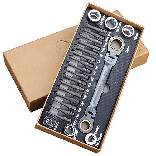 Juego de llaves de tubo con trinquete, kit organizador de vasos de 23 piezas, con llave reversible de 72 dientes y caja de almacenamiento portátil,para herramientas manuales de mantenimiento del hogar