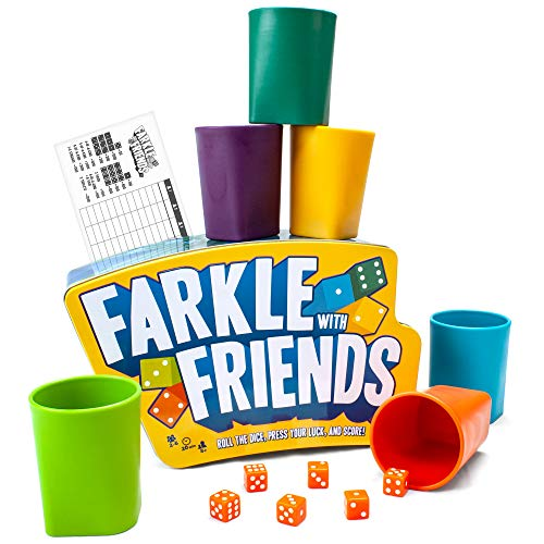 Brybelly Farkle with Friends  The Classic 6Player Dice Game in a Premium Storage Tin  Colored Dice with Matching Cups  Gaming amp Family Party Fun for Kids Teens Adults amp Seniors
