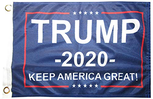 Trade Winds 12x18 Trump 2020 Keep America Great! Blue 100D Woven Poly Nylon Flag 12'x18' Banner Grommets Heavy Duty (RUF)