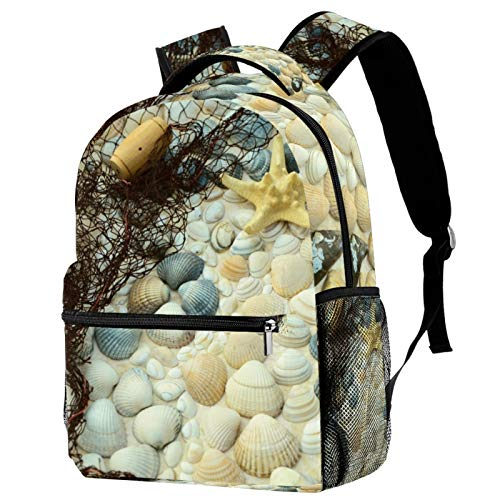Sports Backpack Gym Bags with Shoe Compartment Wet Pocket Travel Backpacks Anti-Theft Pocket Water Resistant Workout Bag (Colorful)Sea Shell Starfish