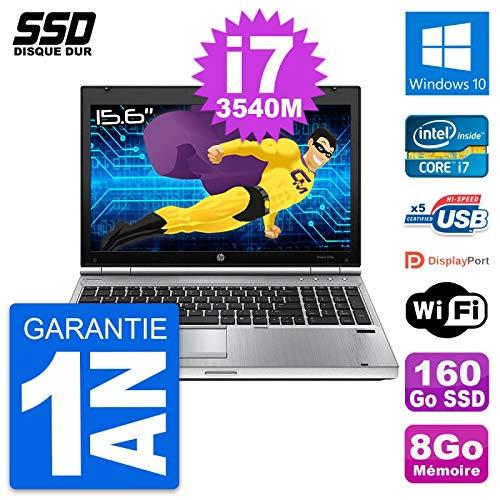HP Laptop 15.6 EliteBook 8570P Intel I7-3540M RAM 8 GB SSD 160 GB W10
