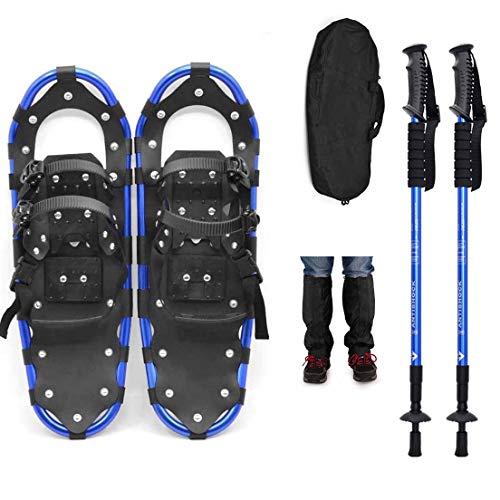 LJXiioo Raquetas de Nieve de 22 Pulgadas, Raquetas de Nieve Ligeras de aleación de Aluminio para Terreno con Bastones de Trekking y Polaina para Las piernas,B