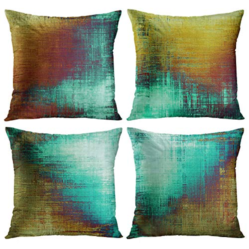 Emvency Set of 4 Throw Pillow Covers Vintage Abstract Teal and Brownish Yellow Messy Rust Painting Decorative Pillow Cases Home Decor Standard Square 18x18 Inches Pillowcases