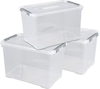 CURVER |Lot de 3 Boîtes de rangement Handy box 65L, TRANSPARENT, Plastique