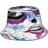 William Bacon Fisherman Cap, Grunge Halloween Lady con Calavera de azúcar Maquillaje Creepy Dead Face Gothic Woman Artsy, Travel Beach Hat