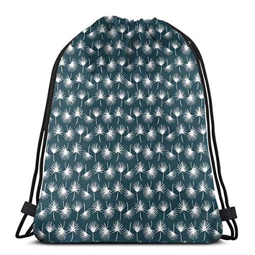 XCNGG Bolsas con cordón Bolsa de deporte para gimnasia Viaje, Patrón de follaje natural abstracto en Siluetas de diente de león blanco Prado de jardín de primavera