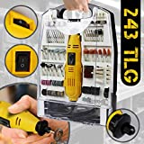 Mini-Amoladora recta elctrica I maletn plstico con 243 piezas, 135 W I Herramienta rotativa, Mini Taladro, accesorios