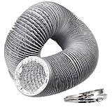 Hon&Guan Tubo de Manguera de Ventilación Tubo Aire Flexible di Aluminio PVC para Extractor de Aire, Climatización, Secadora(ø100mm*5m, Gris)