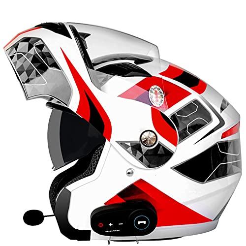 BHBXZZDB Cascos modulares de motocicleta con Bluetooth certificado DOT doble viseras casco integral integrado Flip Up Touring Cascos integrados Altavoz Bluetooth para respuesta automática