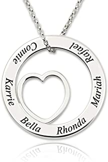 lalaok666 The Name Necklace Circle Contains a Special Design of The Heart Shape Special Custom Gift for Family and Friends