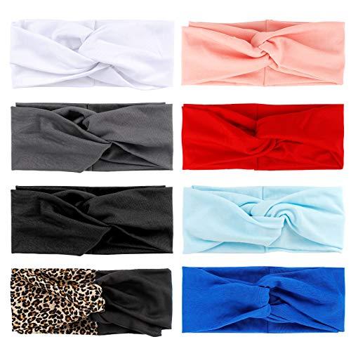 Jubaopen 8Pcs Cinta Pelo Mujer, Nudo Cruzado Bandas para el Pelo, Diademas con Nudo Cruzado, Banda para el Cabello, Turbante para Mujeres y Chicas, Diadema Leopardo para Deportes, 8 colores