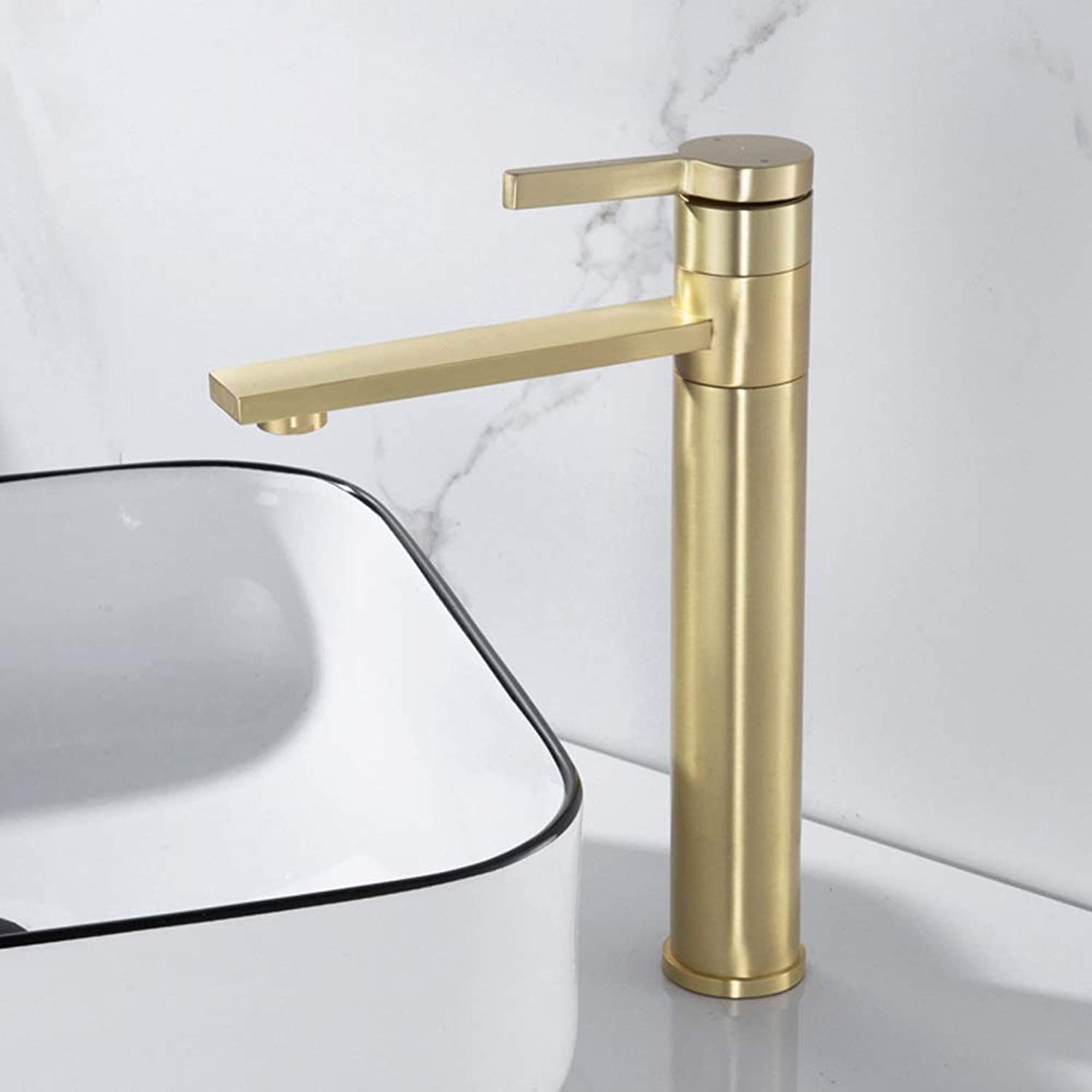 AmzGxp Nordic Brass Basin Faucet Copper Hot And Cold redating Faucet Matte Brushed gold Washbasin Faucet (Size   Long section)