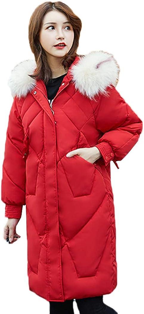 Azastar Women's Down Cotton Coat Faux Fur Hooded Long Jackets Outerwear