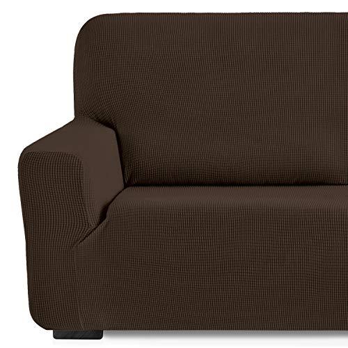 Eiffel Textile Monaco Elastica Adaptable. Funda Sofa Lisa, 94% poliéster 6% Elastano, Marrón, 3 Plazas (180-240 cm)