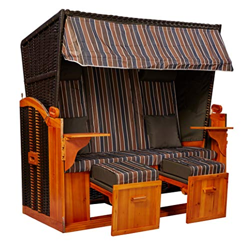 intergrill Strandschönheiten Claudia Ostsee XXL Strandkorb 2,5-Sitzer Verschiedene Dekor Terrassen Wintergärten Garten