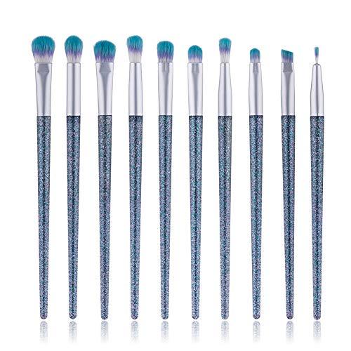 Pinceaux Maquillage à Yeux 12pcs, Maquillage Yeux Brosse Pinceau Fard à Paupières Sourcils Pinceau(quicksand Poignée Diamant Bleu)