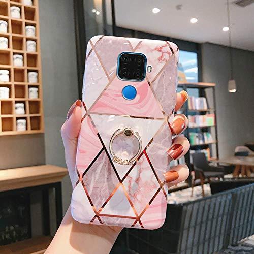 Herbests Kompatibel mit Huawei Mate 30 Lite Hülle Handyhülle Marmor Muster Glänzend Glitzer Bling Weich Silikon Hülle Kratzfest Schutzhülle Tasche Crystal Case Ring Halter Ständer,Weiß Pink
