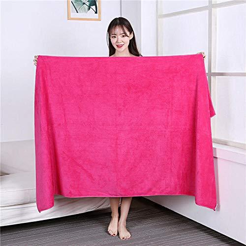 Lyolk Toallas Grandes absorbentes para Adultos, Toallas de Cama Grandes para Hombres y Mujeres y Toallas de baño-Rose Red_80x180 Thickening