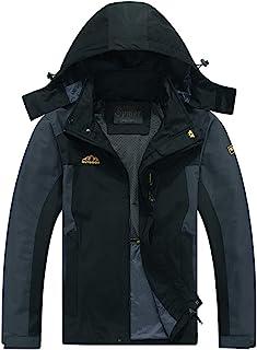 Cheerun Men's Outdoor Sports Hooded Windproof Jacket Waterproof Rain Coat Black X-Large