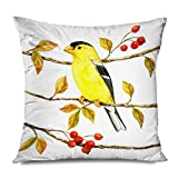 CHARLLR Throw Pillow Cover 20x20 Inch Retro Yellow Birds Together On Colorful Tree Branches Autumn Fall LEAVES European Full Red Fruits Flowers Decorative Pillowcase for Sofa Couch Bedroom Living Room