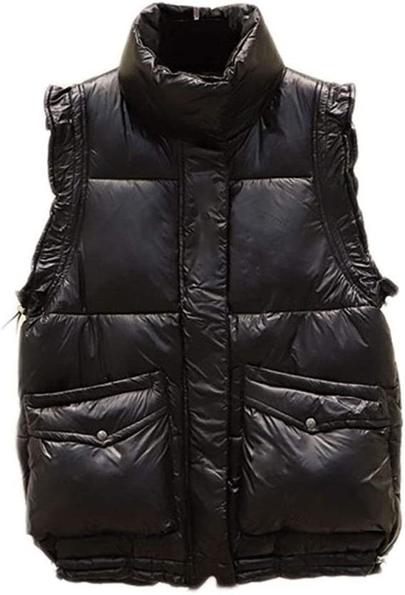 Stylish Women's Padded Vest,Jacket Waistcoat Outdoor Keep Warm in Winter Stand Collar Lightweight Quilted Gilet Bodywarmer (Color : Black, Size : Large)
