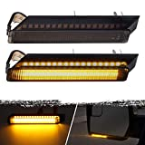 Partsam Sequential Amber LED Side Mirror Turn Signal Light Smoked Right Left Lamps 36 LED Compatible with F150 Expedition Raptor Lincoln Mark LT, Amber Flowing led Lights Design Plug and Play