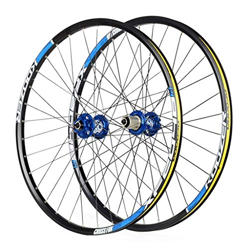 Cycling Wheels For 26 27.5 29 Inch Mountain Bike Wheelset, Alloy Double Wall Quick Release Disc Brake Compatible 8-11 Speed, Blue, 27inch