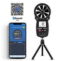 INFURIDER Digital Wireless Anemometer with APP via Bluetooth,YF-866APP Handheld Wind Speed Meter Wind Speed Gauge for Measuring Wind Speed/Temperature with Backlit and Max/Min/Avg