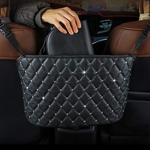 Bolso de cuero de PU para el bolsillo con red de coche, Organizador de malla en el respaldo del asiento, Bolsa de red para almacenamiento del conductor, Almacenamiento de bille(Color:Negro + Diamante)