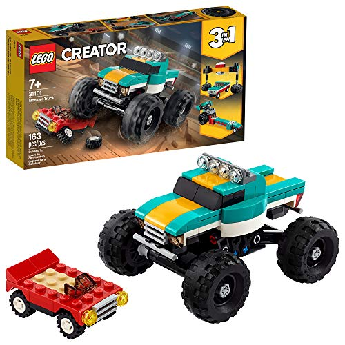 LEGO Creator 3in1 Monster Truck Toy 31101 Cool Building Kit for Kids, New 2021 (163 Pieces)