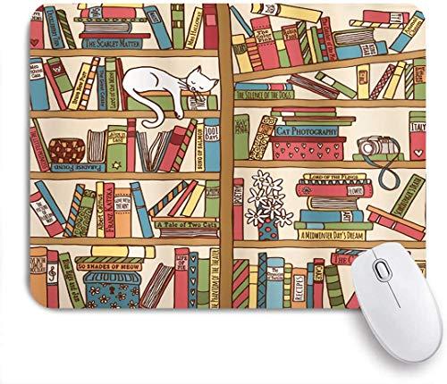 Alfombrilla de ratón gato nerd amante de los libros kitty durmiendo sobre estantería biblioteca académicos diseño felino boho arte personalizado alfombrilla de ratón base de goma antideslizante para c
