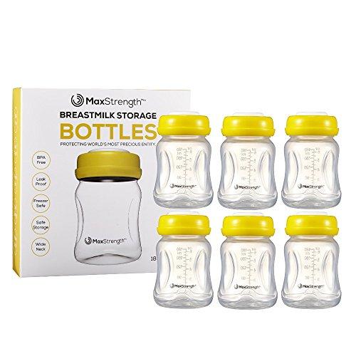 Bottiglie di latte materno 6pc set con coperchi ermetici da Max Strength Pro, 170,1 gram 180 ml riutilizzabile biberon a collo largo migliore per latte materno Collection & Storage Solution, senza BPA
