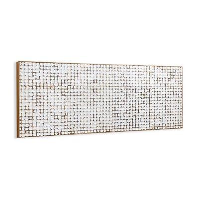 Cabecero para cama de 150 o 160 cm de ancho Cabecero hecho con piezas de cáscara de coco Diseño con mosaico elaborado manualmente Cuenta con colgadores para ajustarlo en la pared Adecuado para cualquier tipo de dormitorio