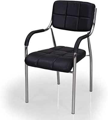 TREO Furniture Medium Back Leatherette Chair for Visitors | Staff | Office | Executive | Computer | Armrest Chair | Study Chair for Home & Office