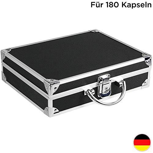 SAFE 9817 ALU Münzkoffer schwarz - inkl. 6 königsblaue Tableaus 6834 SP für 180 Münzen in Kapseln 32 mm - Ideal für 2 Euro Münzen in Münzkapseln
