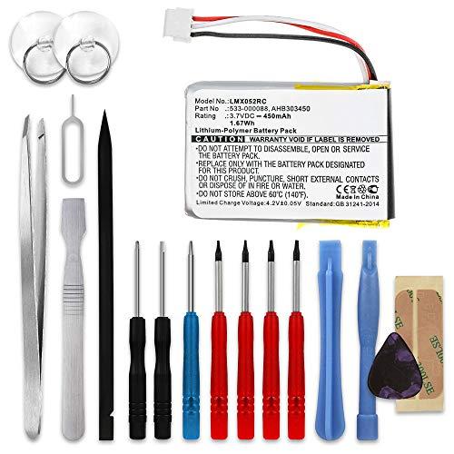 subtel® Qualitäts Akku kompatibel mit Logitech MX Anywhere 2 MX Master MX Master 2 MX Master 2S MX Master 3 MX Ergo, 533-000120 450mAh + Werkzeug-Set Ersatzakku Batterie