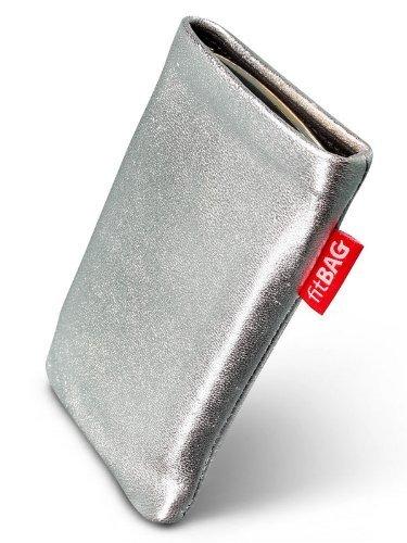 fitBAG Groove Silber Handytasche Tasche aus feinem Folienleder Echtleder mit Microfaserinnenfutter für ASUS M930