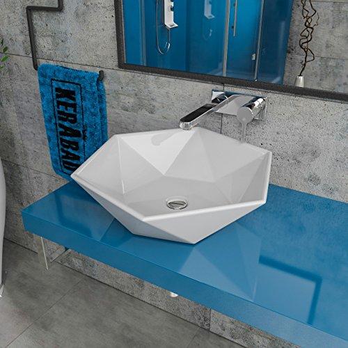 KERABAD Design Keramik Waschbecken Waschtisch Waschschale Aufsatzwaschbecken Aufsatzwaschtisch Gäste WC Becken KB-P819 BxTxH: 53,5x46,5x14,5cm