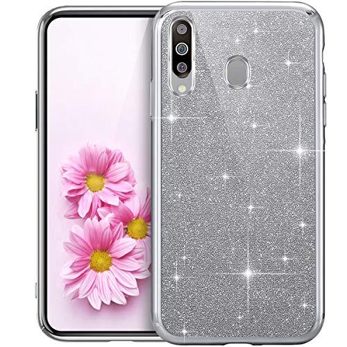 Purpurina Funda Móvil Compatible con Galaxy M30, Transparente Suave TPU Silicona Enchapado Bumper Teléfono Funda Ultra-Delgada Glitter Brillo Brillantes Carcasa Protectora para Galaxy M30,Plata