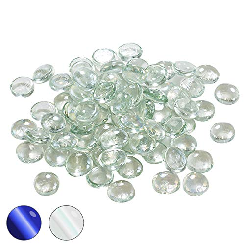 Houseables Glass Stone, Clear Marbles, Pebbles for Vases, 5 LB, 500-600 Stones, Flat Bottom, Round Top, Rocks, Bowl Filler Gems, Iridescent Decor, Decorative Centerpieces, Florist Supplies, Aquarium