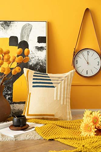 phjyjyeu Funda de almohada decorativa tribal bohemio, con patrón geométrico bordado, para sofá, cama, coche, 45,7 x 45,7 cm, beige, naranja, azul océano, 40,6 x 40,6 cm