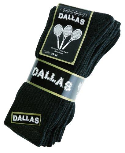 Dallas 20 Paar Arbeitssocke Tennissocke Freizeitsocke (43-46, Schwarz)