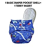 superbottoms Soft Fleece Lined Pocket Diaper with 1 Wet-free Insert with Snaps