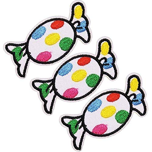 U-Sky Sew or Iron on Patches for Kids Clothing - Cute Candy Patch for Jackets, Jeans, Backpacks, Shirts, Skirts - Pack of 3pcs - Size: 2.2x1.4 inch
