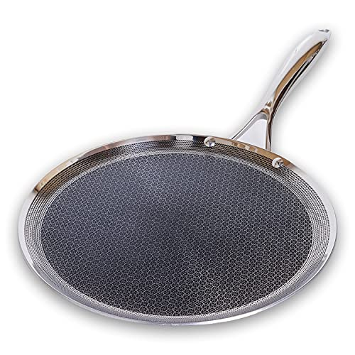 HexClad 12 Inch Hybrid Stainless Steel Griddle Non Stick Fry Pan with Stay-Cool Handle - PFOA Free, Dishwasher and Oven Safe, Works with Induction, Ceramic, Electric, and Gas Cooktops