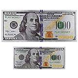 Custom Toys & Hobbies 2X Silver $1000 United States Dollar Bills Copy Play Money Fridge Foil Magnets USA Souvenir Gift