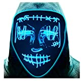 ATIMGIO Halloween LED Mask Light Up Mask Scary EL Wire Mask Cosplay Costume Rave Glowing Masks for Festival Party Masquerade Carnival(Blue)