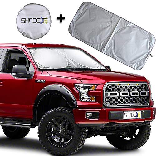Shade-It Car Windshield Sun Shade - Durable, Nylon Heat Block and UV Protection Sunshades - Sunlight Blocker - Reflective Coating, Easy Storage - Bonus Product Included