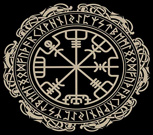 DIY 5D Diamond Painting Numbering Kit Viking Magical Runic Compass Vegvisir 12' X 16' Adult Children Rhinestone Cross Stitch Painting Kit for Home Decoration
